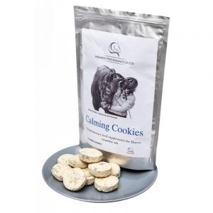 Calming Cookies For Horses, displayed on a silver plate